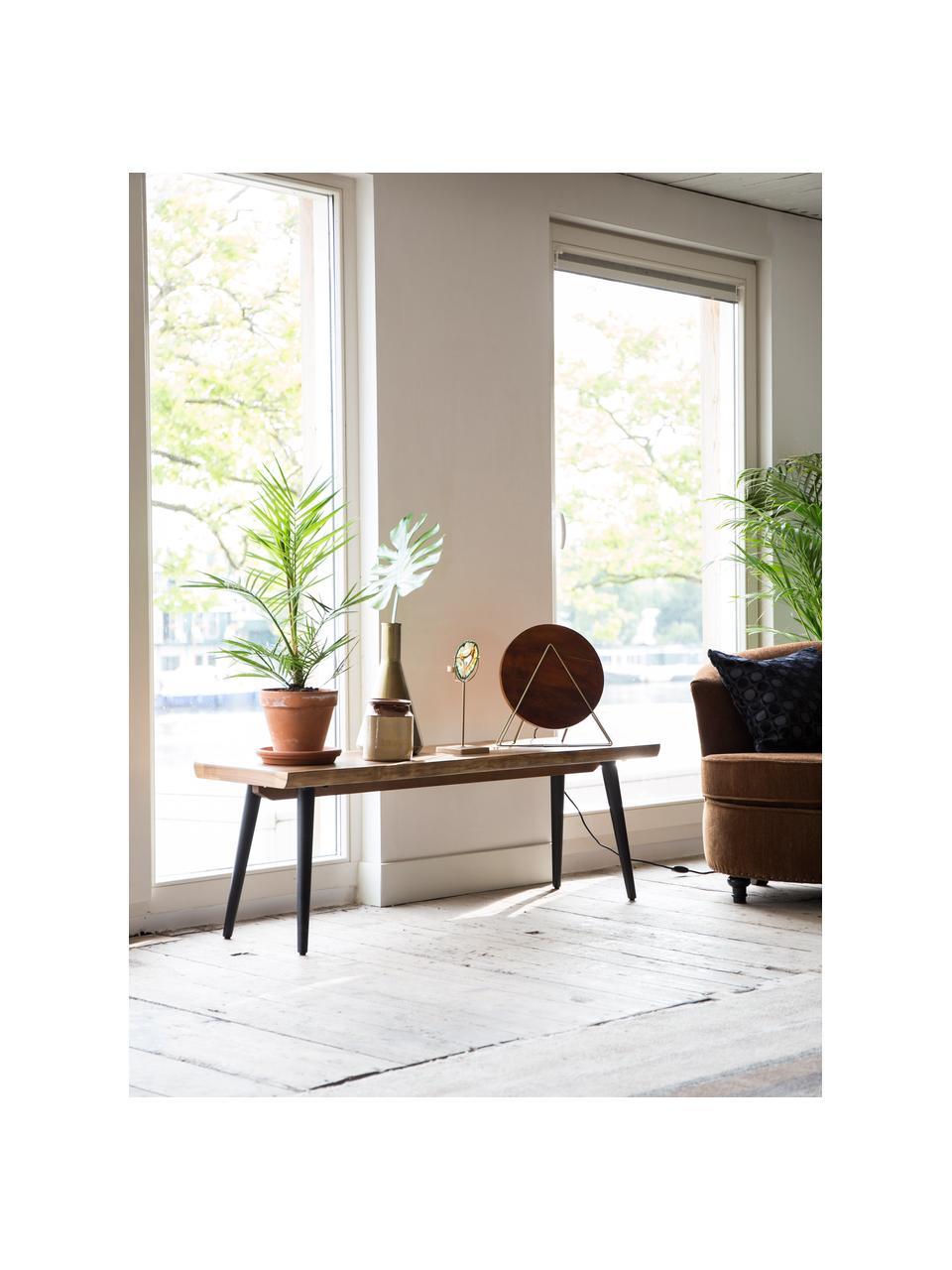 Panca con bordo albero Alagon, Seduta: pannelli di fibre a media, Gambe: acciaio verniciato a polv, Albero di noce, Larg. 140 x Alt.45 cm