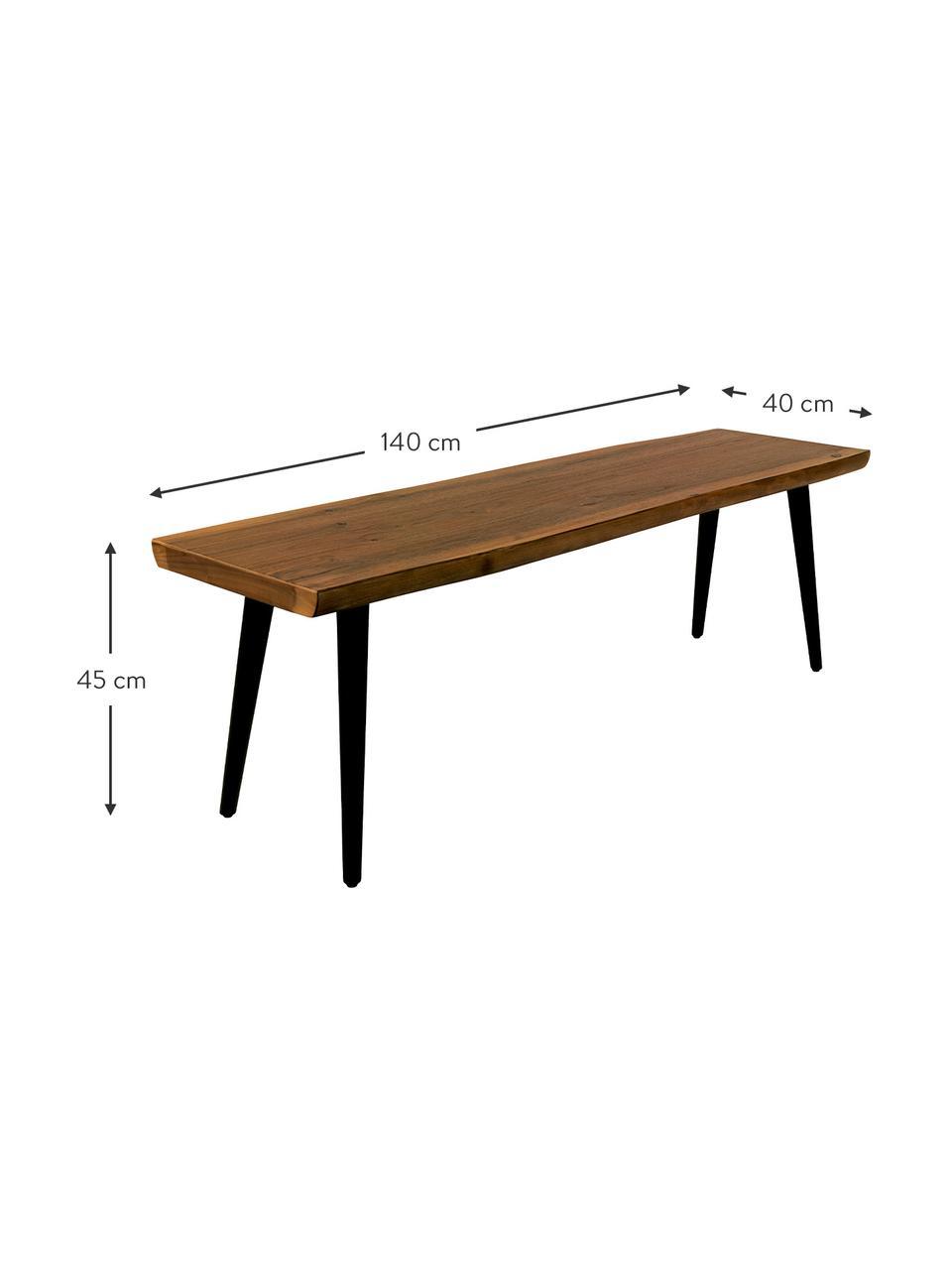 Sitzbank Alagon mit Baumkante, Sitzfläche: Mitteldichte Faserplatte , Beine: Stahl, pulverbeschichtet, Walnuss, 140 x 45 cm