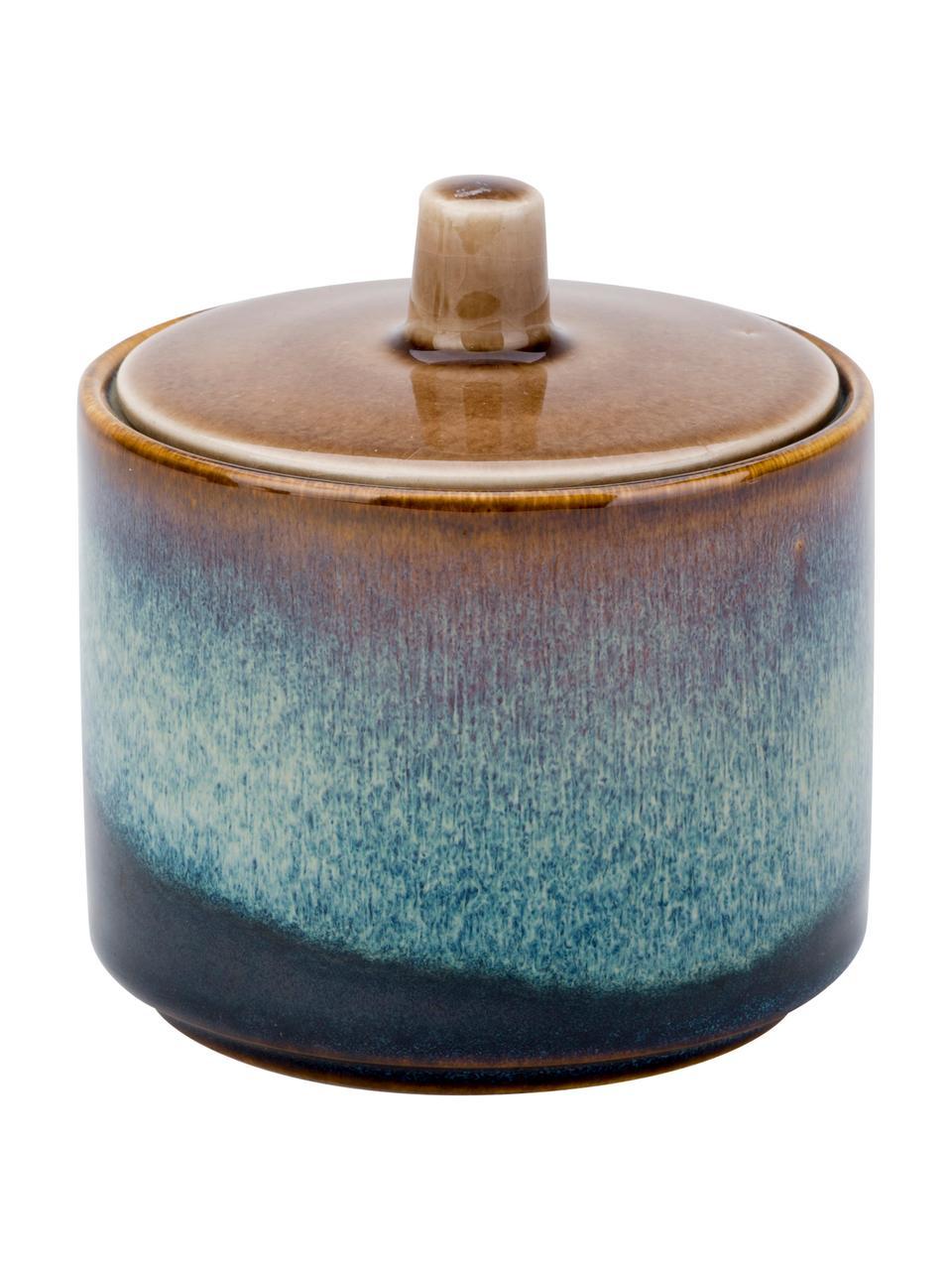 Handgemachte Zuckerdose Quintana Blue mit Farbverlauf Blau/Braun, Porzellan, Blau- und Brauntöne, Ø 8 x H 9 cm
