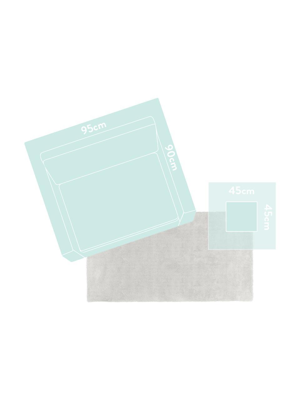 Tappeto morbido a pelo lungo grigio chiaro Leighton, Retro: 70% poliestere, 30% coton, Grigio chiaro, Larg.160 x Lung. 230 cm  (taglia M)