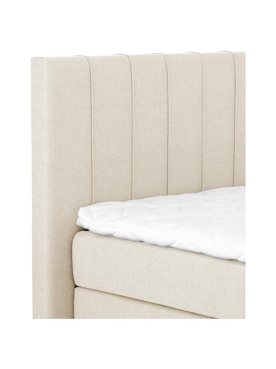 Premium Boxspringbett Lacey in Beige, Matratze: 7-Zonen-Taschenfederkern , Füße: Massives Buchenholz, lack, Webstoff Beige, 160 x 200 cm