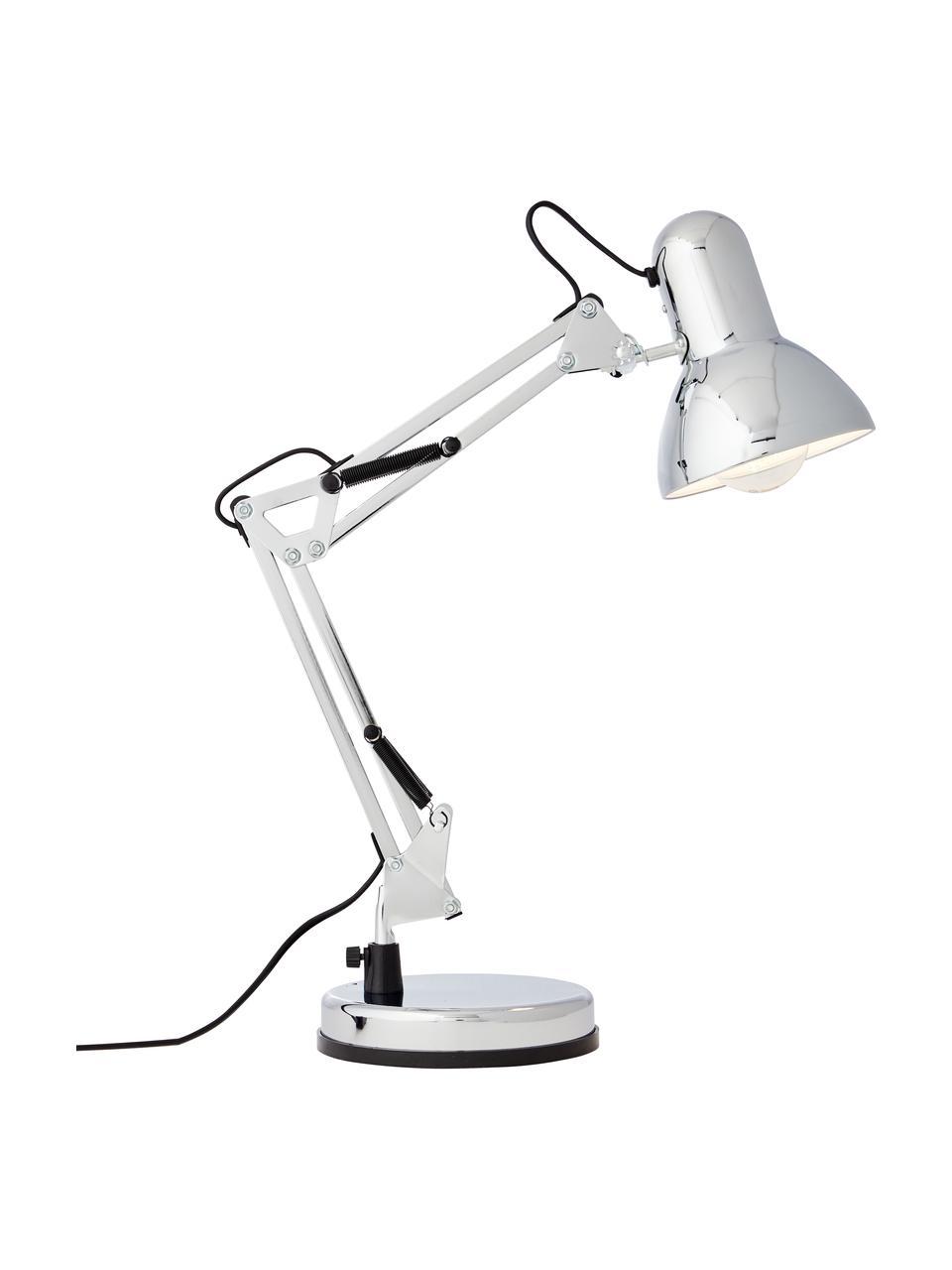 Grote bureaulamp Henry in chroom, Lampenkap: metaal, Lampvoet: metaal, Chroomkleurig, 16 x 50 cm