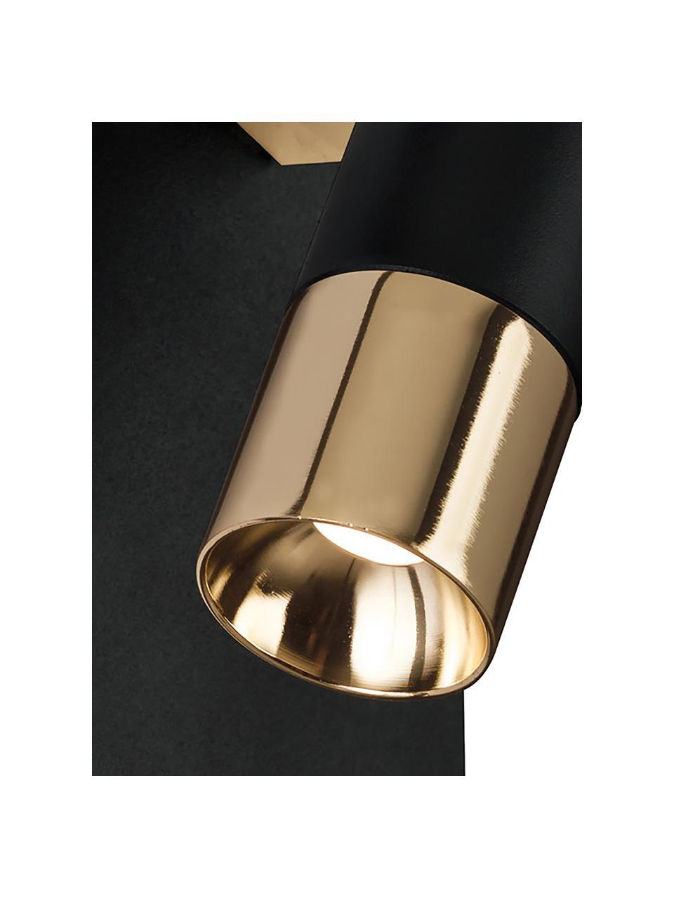 Kinkiet LED Bobby, Czarny, odcienie złotego, S 7 x W 15 cm