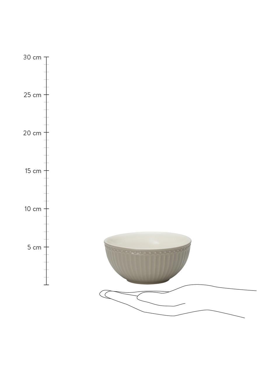 Handgemachte Schälchen Alice in Grau mit Reliefdesign, 2 Stück, Steingut, Grau, Ø 14 cm