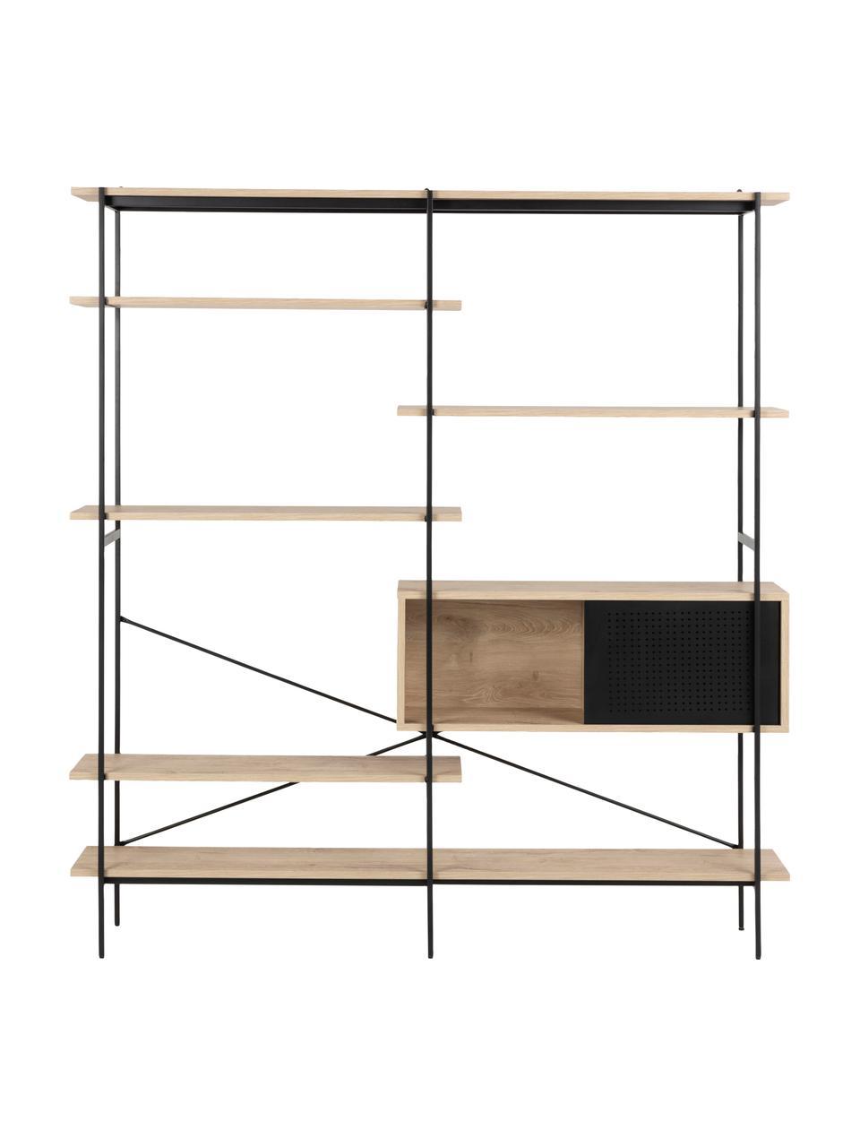Regał z drewna i metalu Angus, Stelaż: metal malowany proszkowo, Brązowy, czarny, S 172 x W 188 cm