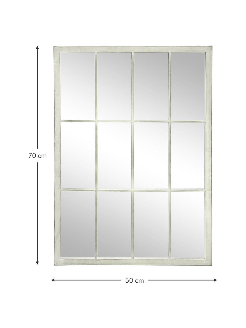 Eckiger Wandspiegel Zanetti mit Metallrahmen, Rahmen: Metall, lackiert, Spiegelfläche: Spiegelglas, Weiß, 50 x 70 cm