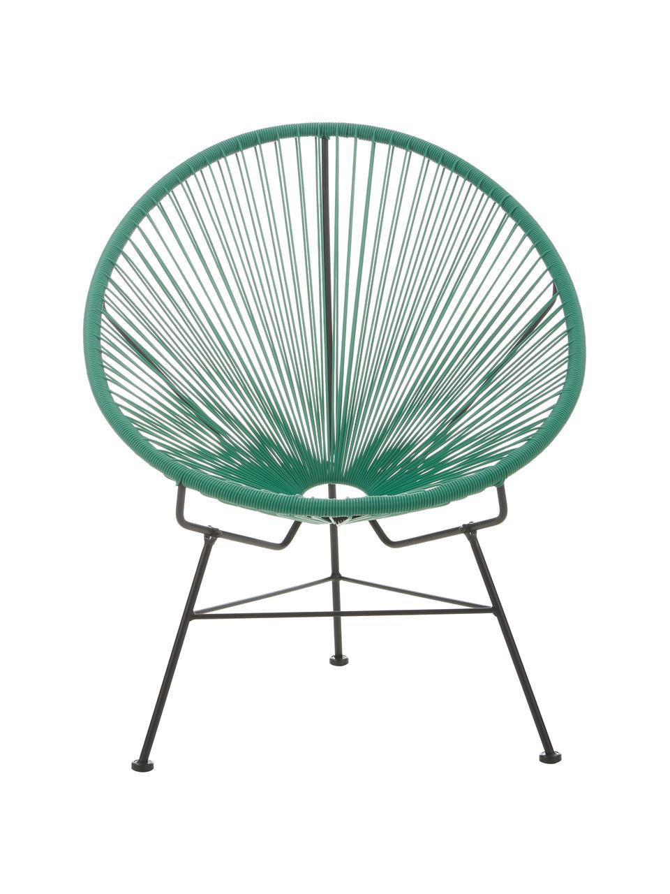 Loungefauteuil Bahia van kunststoffen vlechtwerk, Zitvlak: kunststof, Frame: gepoedercoat metaal, Groen, 81 x 73 cm