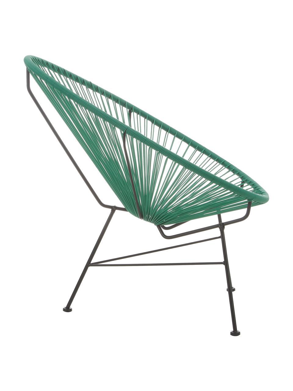 Sedia a poltrona intrecciata Bahia, Seduta: materiale sintetico, Struttura: metallo verniciato a polv, Verde, Larg. 81 x Prof. 73 cm