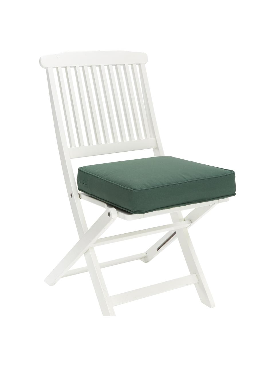 Hoog stoelkussen Zoey in donkergroen, Groen, 40 x 40 cm