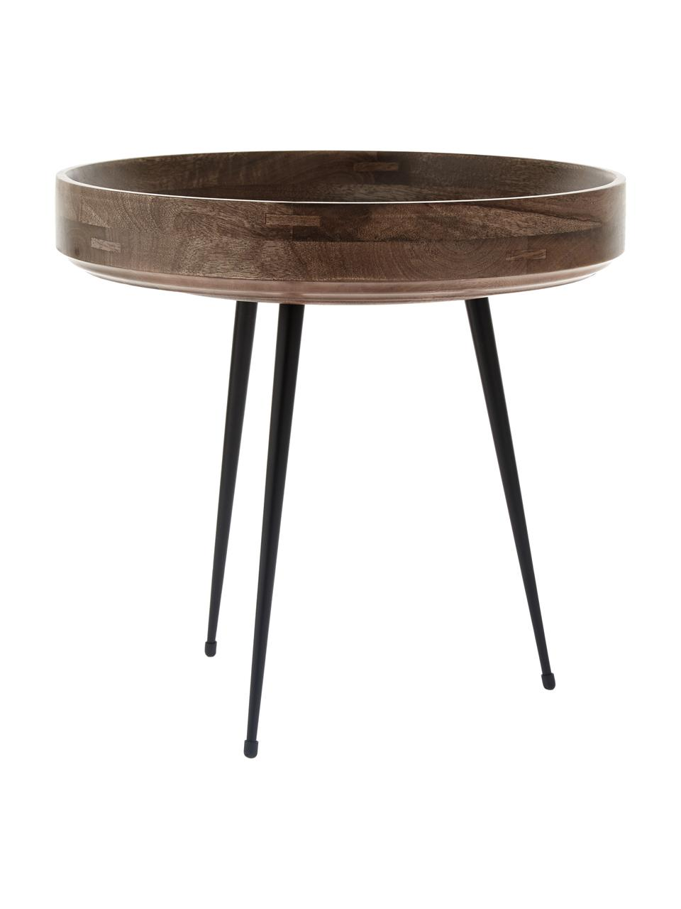 Kleine design bijzettafel Bowl Table van mangohout, Tafelblad: gebeitst en gelakt mangoh, Poten: gepoedercoat staal, Donkerbruin, zwart, Ø 40 x H 38 cm