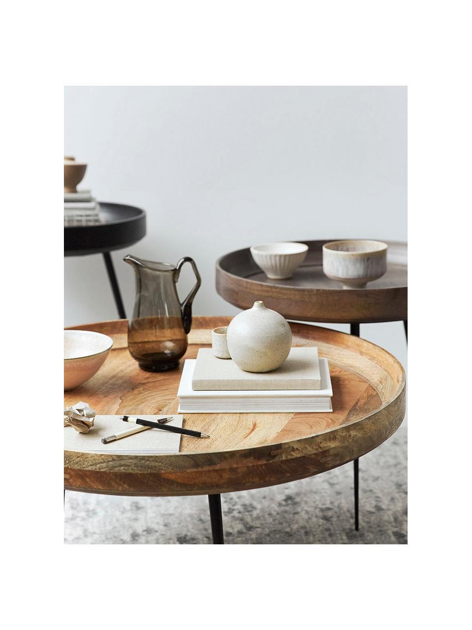 Stolik pomocniczy z drewna mangowego Bowl Table, Blat: drewno mangowe barwione i, Nogi: stal malowana proszkowo, Ciemnyszary, czarny, Ø 40 x W 38 cm