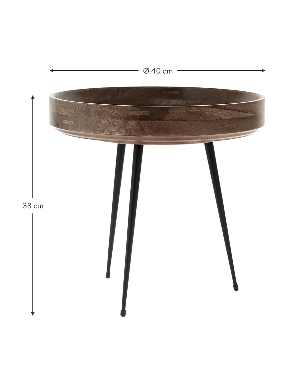 Kleiner Design-Beistelltisch Bowl Table aus Mangoholz, Tischplatte: Mangoholz, gebeizt und la, Beine: Stahl, pulverbeschichtet, Braun, Schwarz, Ø 40 x H 38 cm
