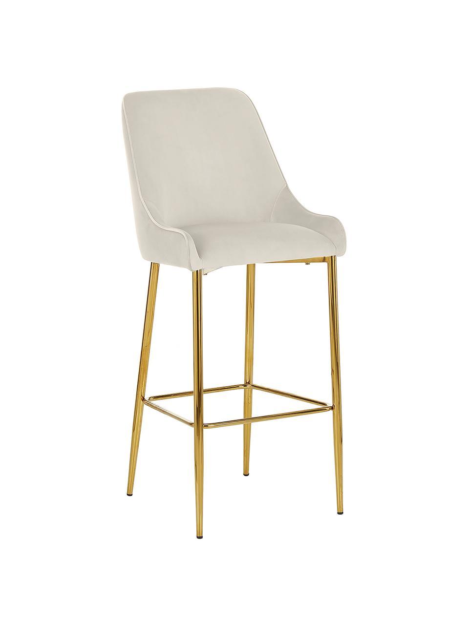 Sedia da bar in velluto con gambe dorate Ava, Rivestimento: velluto (100% poliestere), Velluto beige, Larg. 48 x Alt. 107 cm