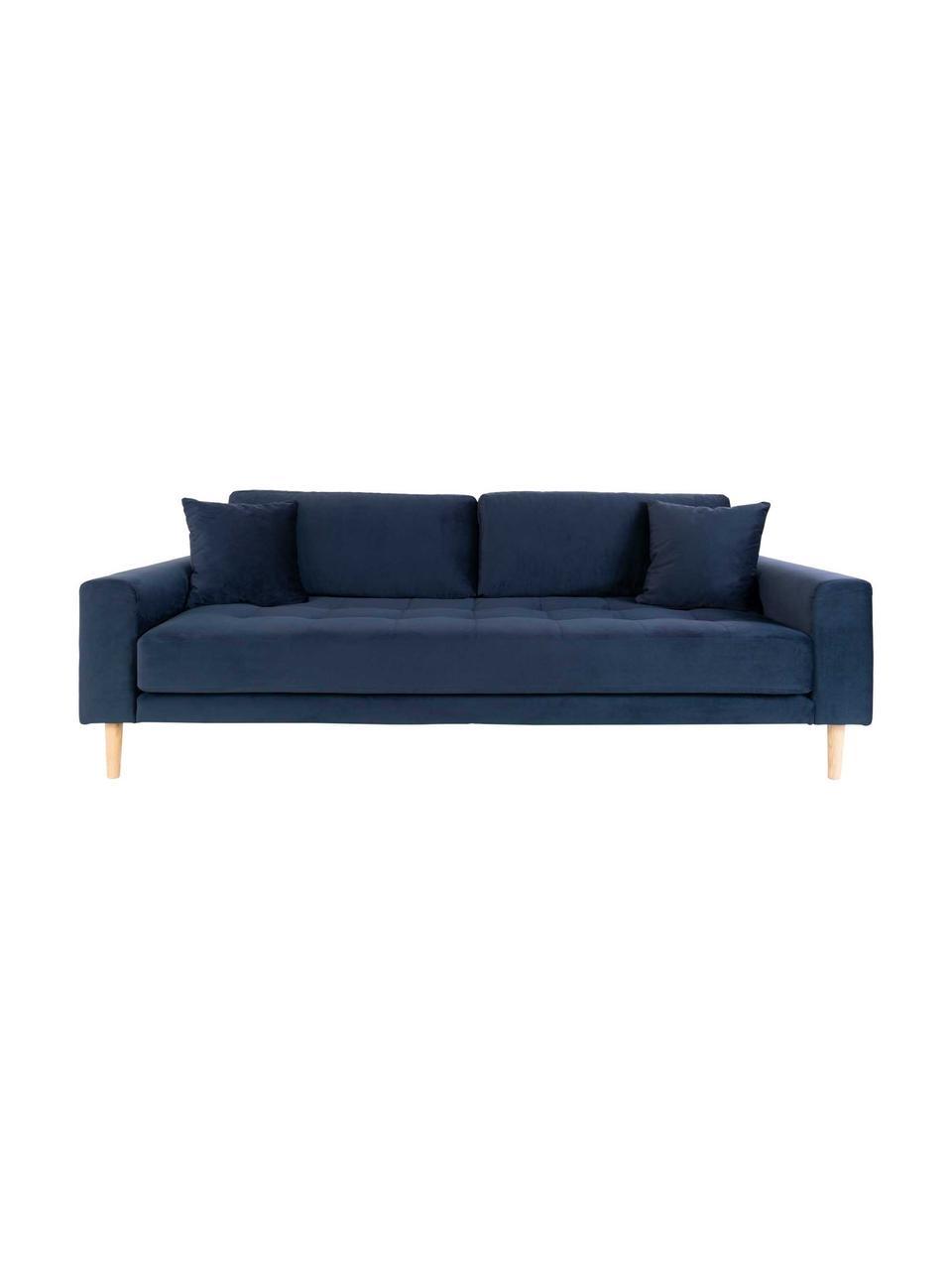 Sofa z aksamitu  Lido (3-osobowa), Tapicerka: aksamit poliestrowy 3000, Nogi: drewno jodłowe, Ciemny niebieski, S 210 x G 93 cm