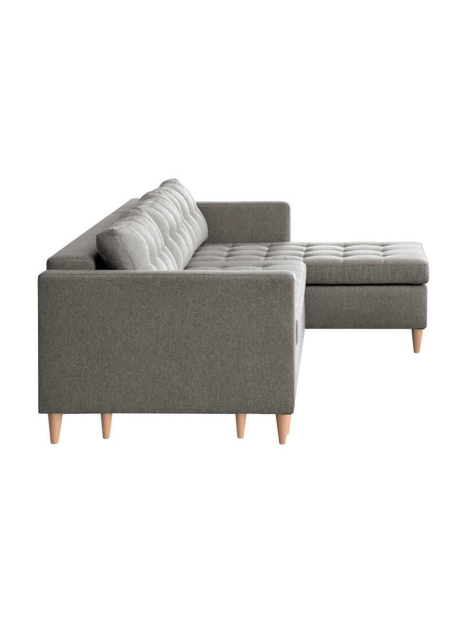Canapé d'angle convertible gris clair Fandy, Tissu gris clair