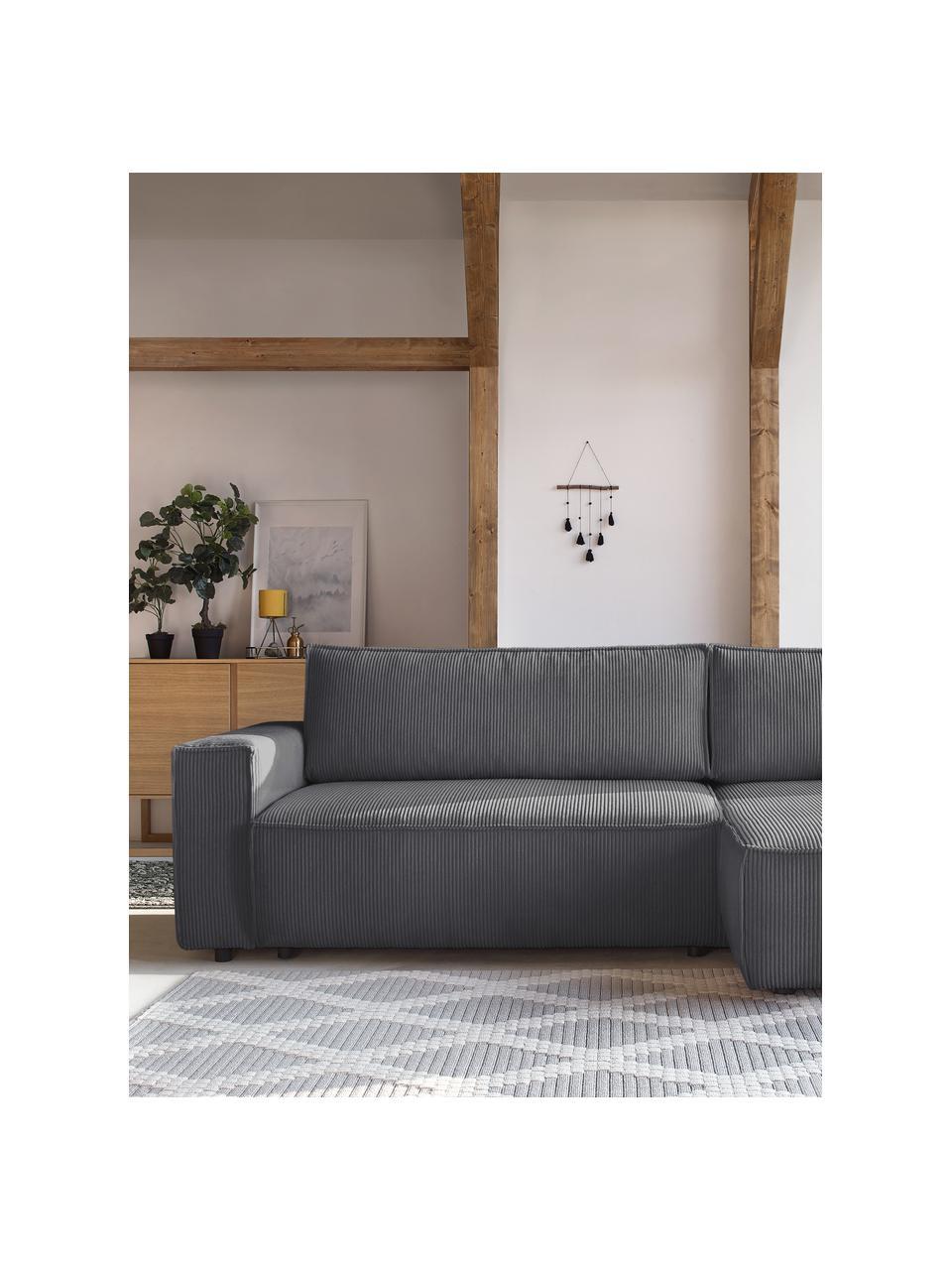 Sofa narożna ze sztruksu z funkcją spania i miejscem do przechowywania Nihad, Tapicerka: sztruks poliestrowy, Nogi: tworzywo sztuczne, Ciemnyszary, S 282 x G 153 cm