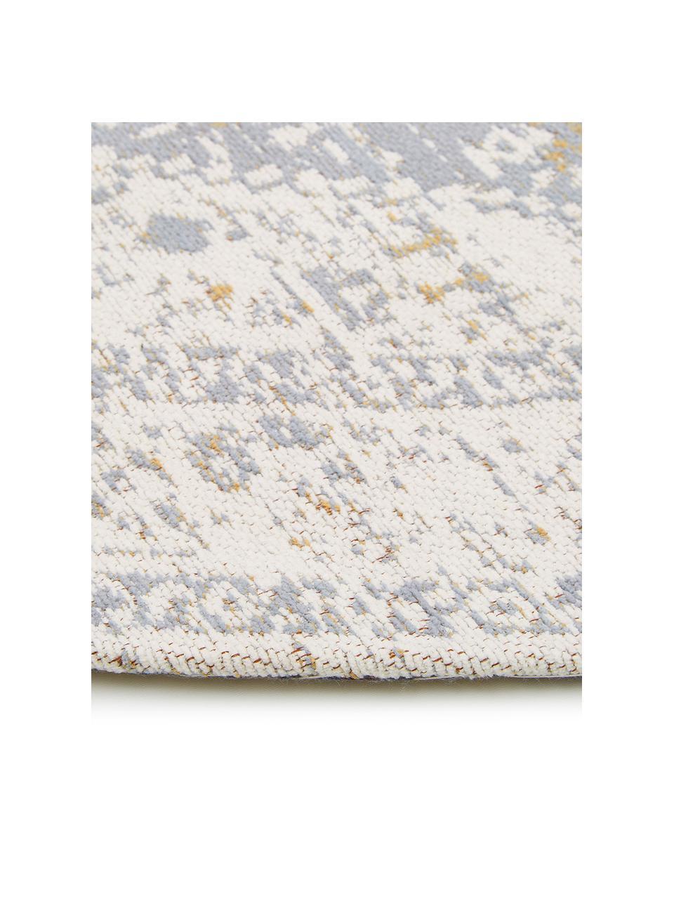 Okrągły ręcznie tkany dywan szenilowy w stylu vintage Neapel, Jasny szary, kremowy, taupe, Ø 200 cm (Rozmiar L)