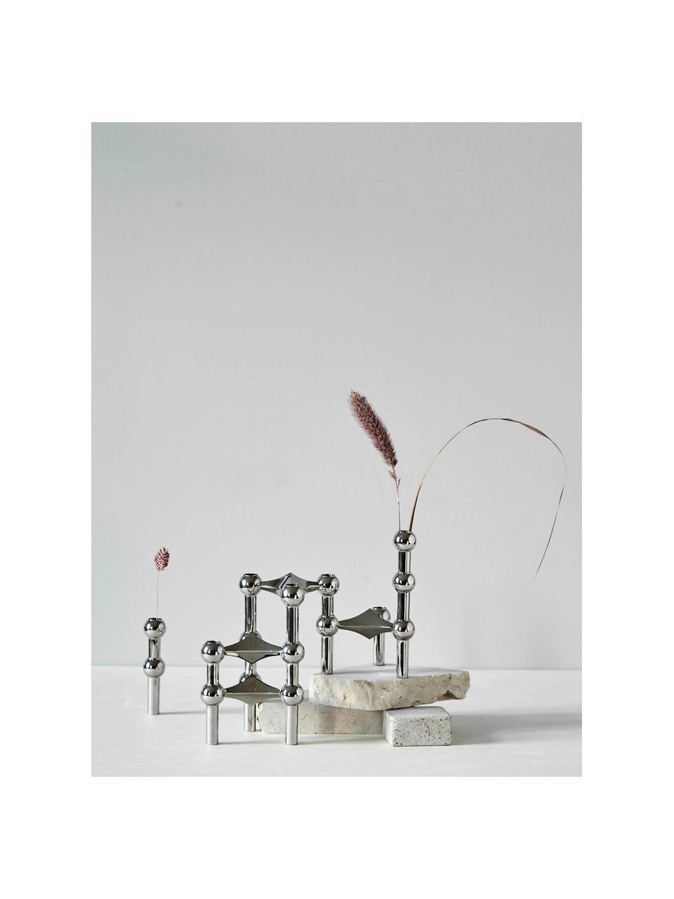 Komplet świeczników Stoff Nagel, 3 elem., Metal powlekany, Odcienie srebrnego, Każdy Ø 10 x W 7 cm