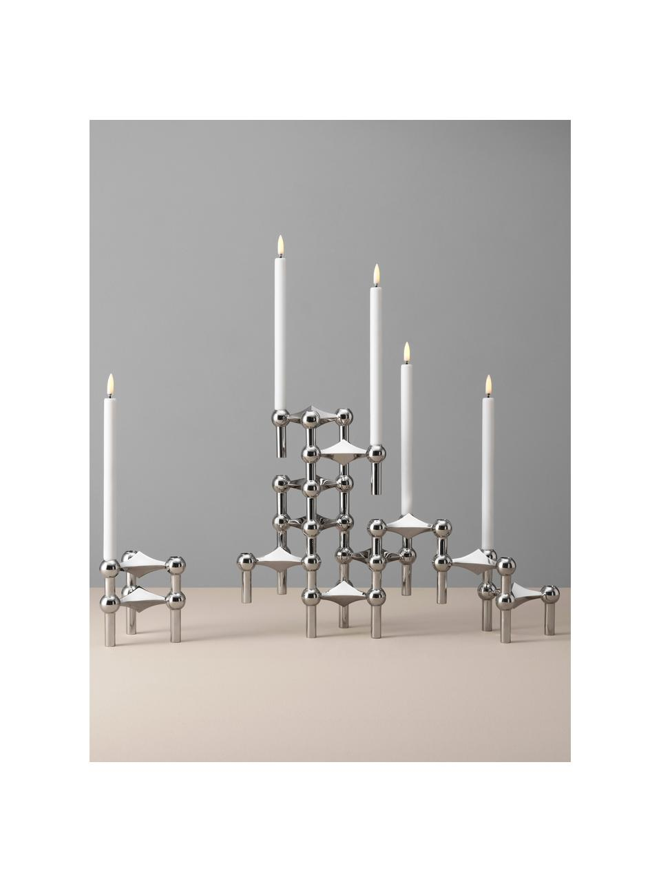Kerzenhalter Stoff Nagel, 3-er Set, Metall, beschichtet, Silberfarben, Ø 10 x H 7 cm