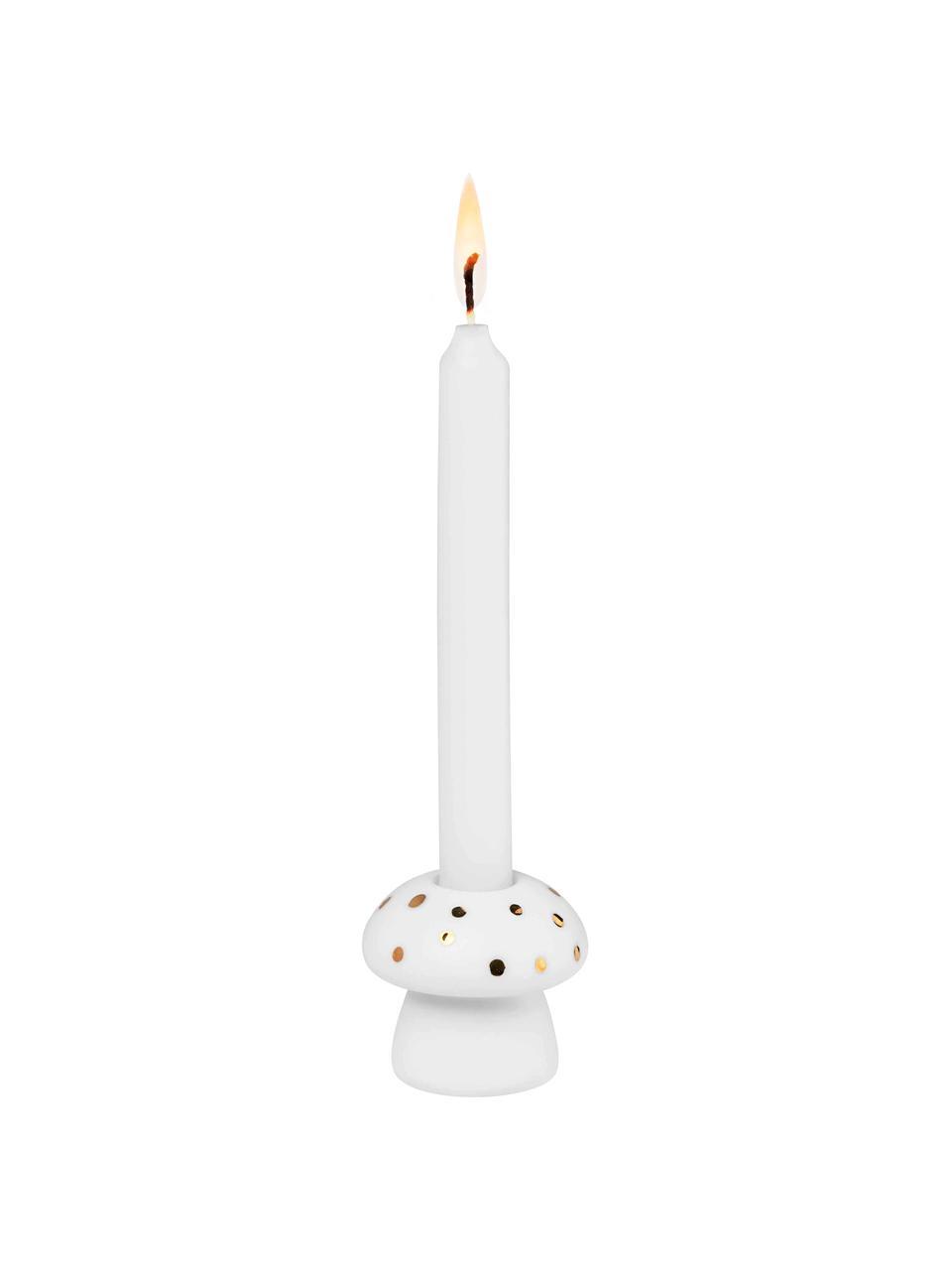 Porzellan-Kerzenhalter Pilz in Weiß/Gold, 2 Stück, Porzellan, Weiß, Goldfarben, Ø 4 x H 4 cm