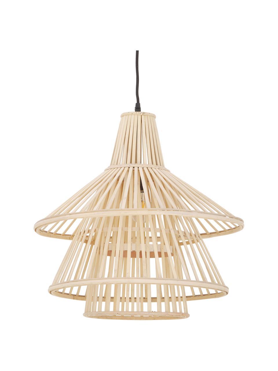 Design Pendelleuchte Kamil aus Bambus, Lampenschirm: Bambus, Baldachin: Kunststoff, Beige, Schwarz, Ø 48 x H 51 cm