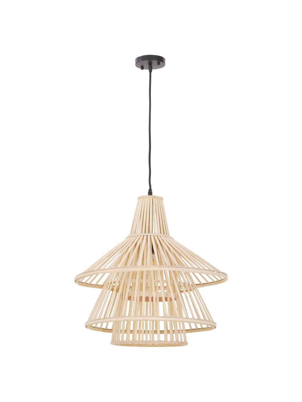 Lampa wisząca z drewna bambusowego Kamil, Beżowy, czarny, Ø 48 cm x W 51 cm