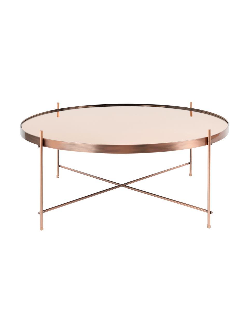Okrągły stolik kawowy ze szklanym blatem Cupid, Stelaż: metal miedziowany, Blat: szkło, Miedziany, Ø 83 x W 35 cm