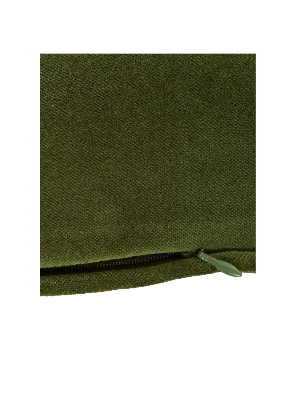 Poszewka na poduszkę z aksamitu Dana, 100% aksamit bawełniany, Ciemny zielony, S 40 x D 40 cm