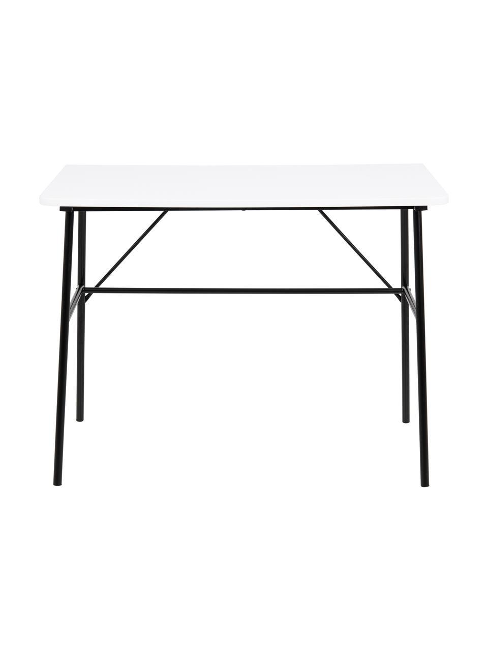 Schreibtisch Pascal in Weiß, Tischplatte: Mitteldichte Holzfaserpla, Beine: Metall, pulverbeschichtet, Weiß, Schwarz, B 100 x T 55 cm