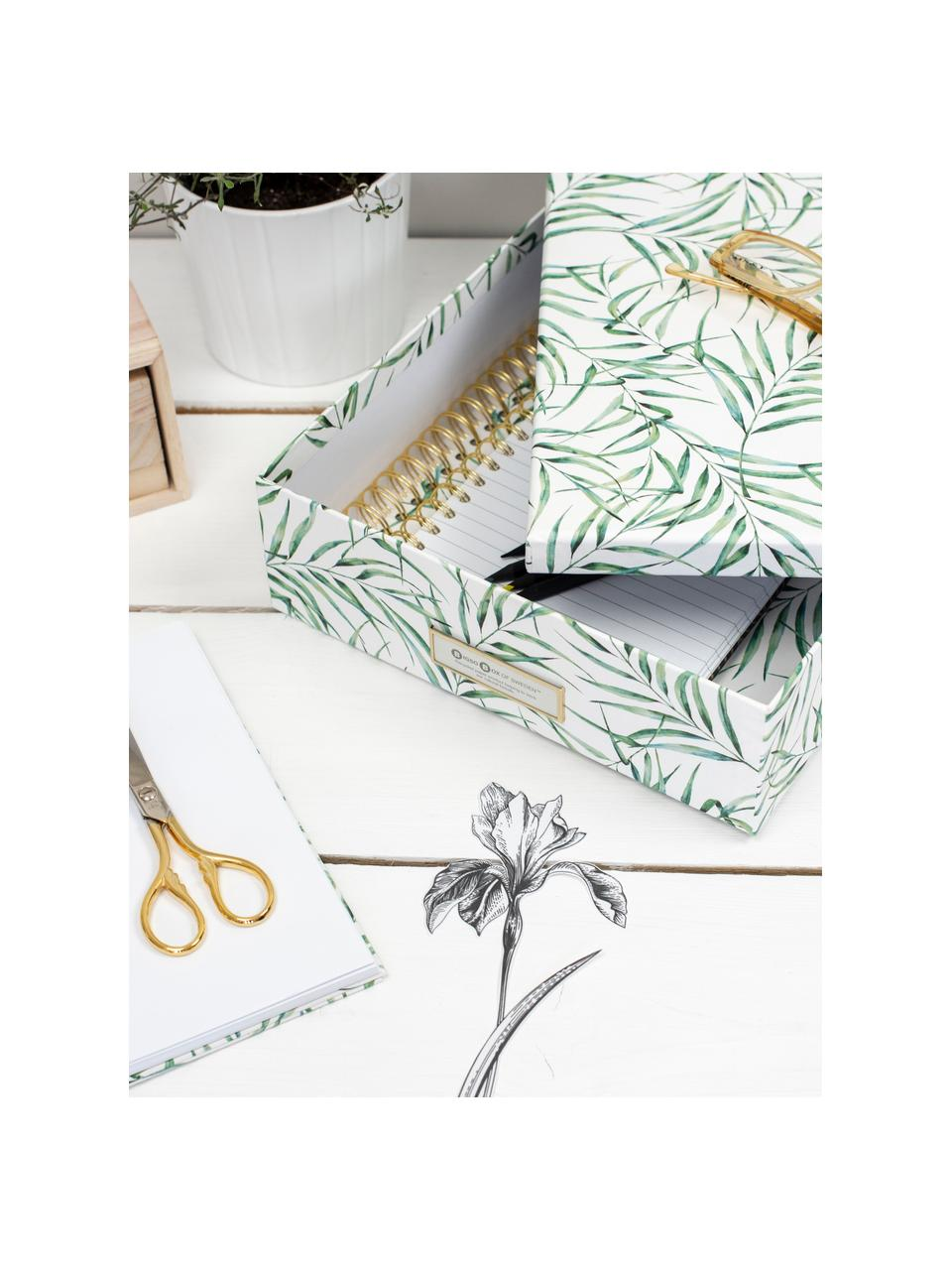 Aufbewahrungsbox Leaf, Fester, laminierter Karton, Weiß, Grün, 35 x 9 cm