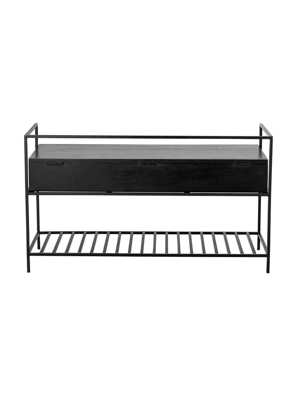 Garderobebank Abelone met opbergruimte, Zitvlak: gecoat mangohout, Frame: gecoat metaal, Zwart, B 102 x D 40 cm