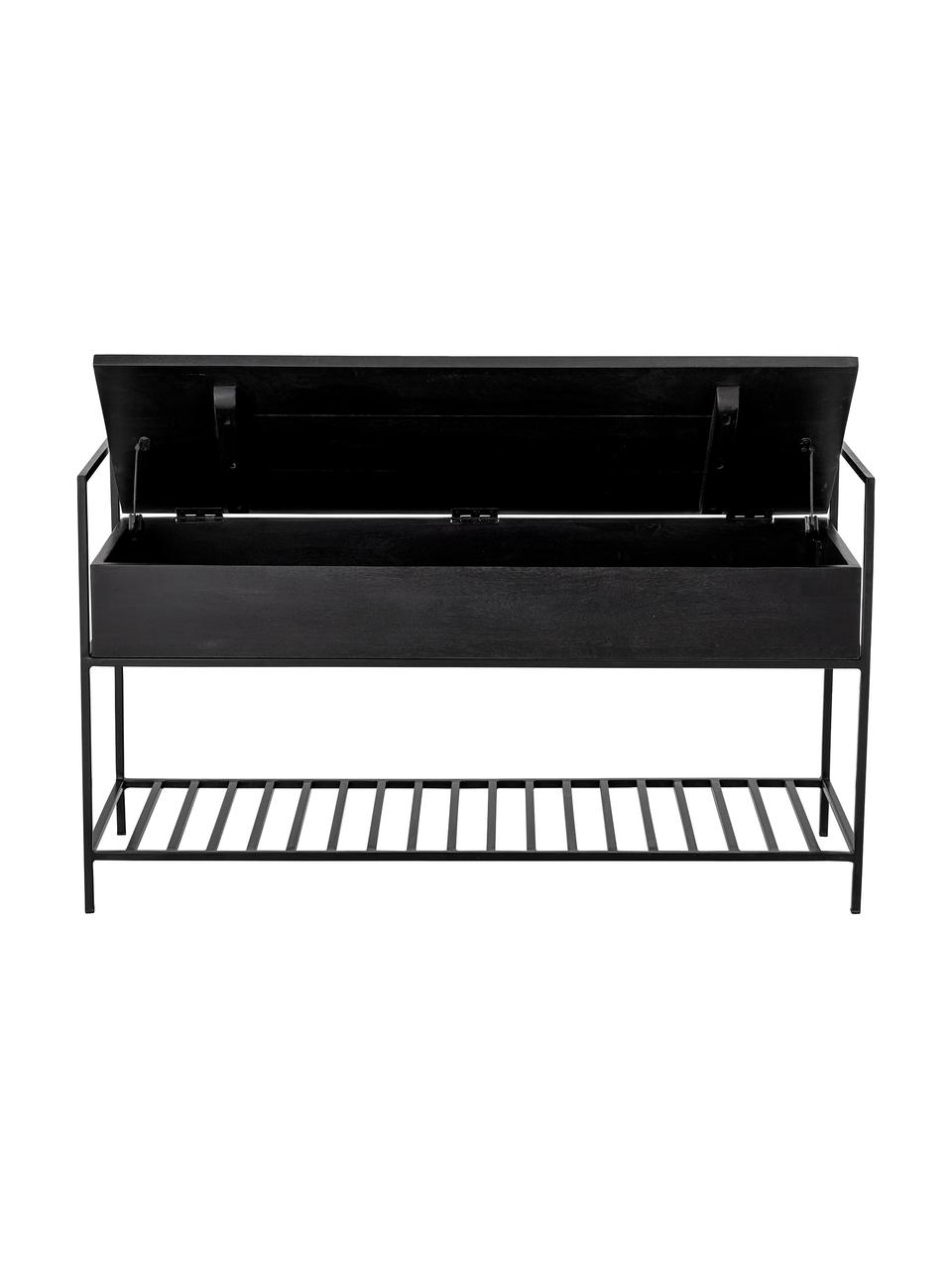 Garderobenbank Abelone mit Stauraum, Sitzfläche: Mangoholz, beschichtet, Gestell: Metall, beschichtet, Schwarz, B 102 x T 40 cm