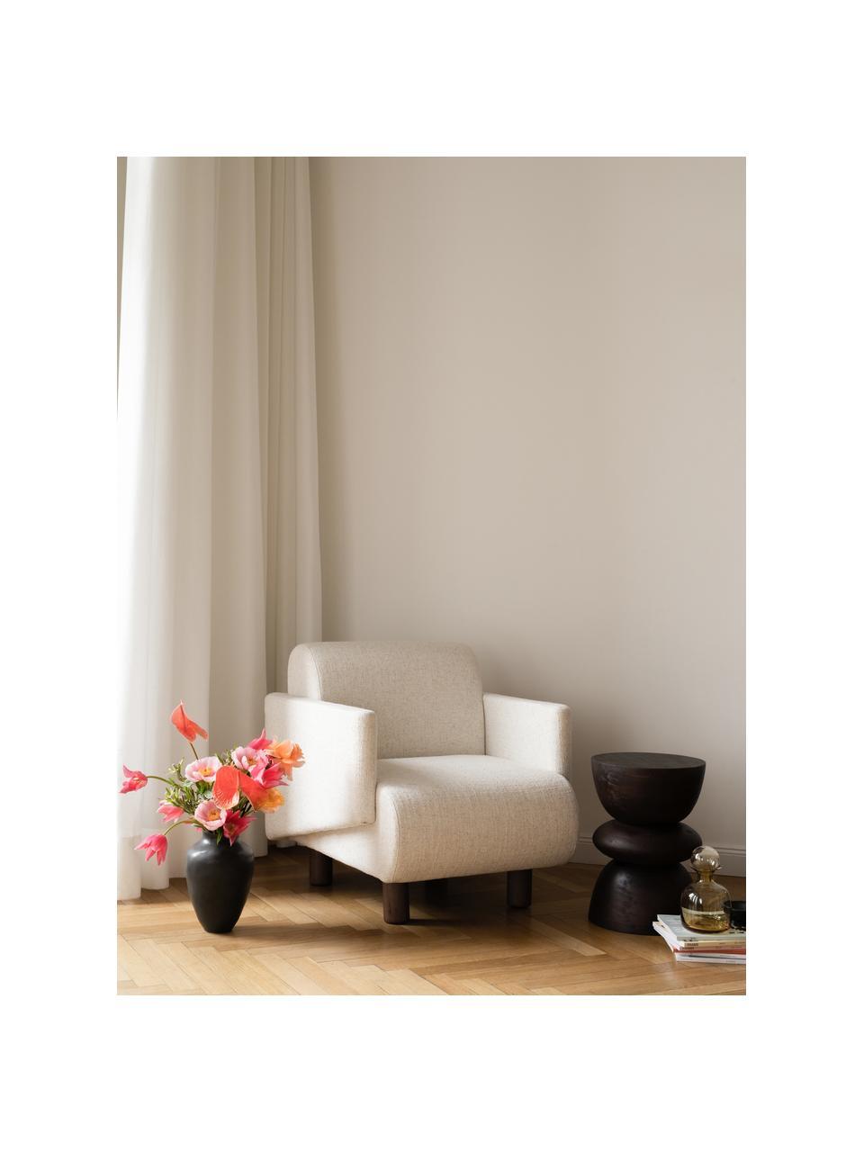 Bouclé loungefauteuil Coco in crèmewit met houten poten, Bekleding: 100% polyester, Poten: massief gelakt beukenhout, Bouclé beige, 92 x 79 cm
