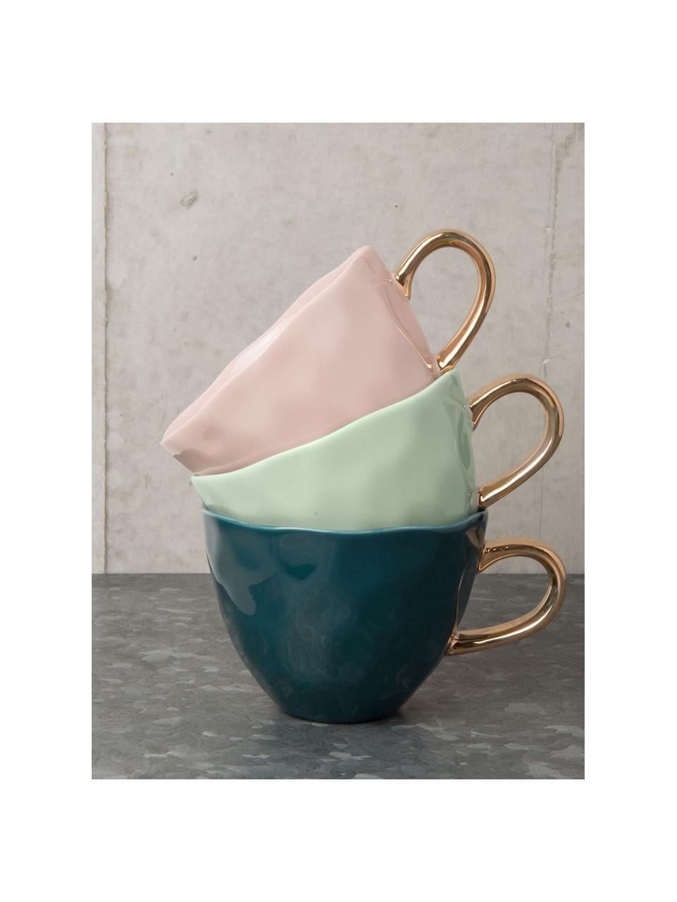 Tasse Good Morning in Mint mit goldfarbenem Griff, Steingut, Mintgrün, Goldfarben, Ø 11 x H 8 cm