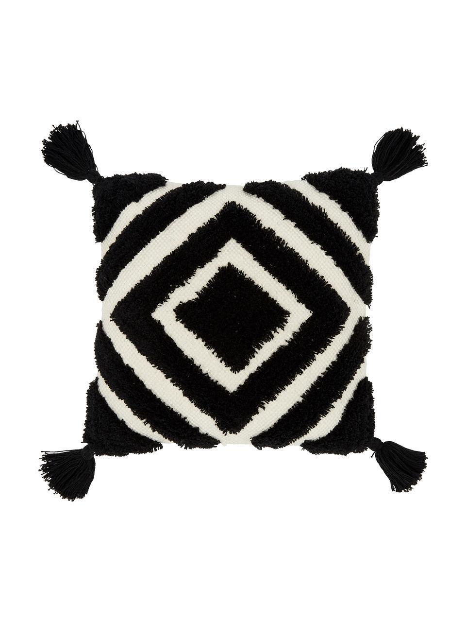 Federa arredo color nero/bianco crema con motivo a rilievo Karina, 100% cotone, Bianco, beige, nero, Larg. 45 x Lung. 45 cm