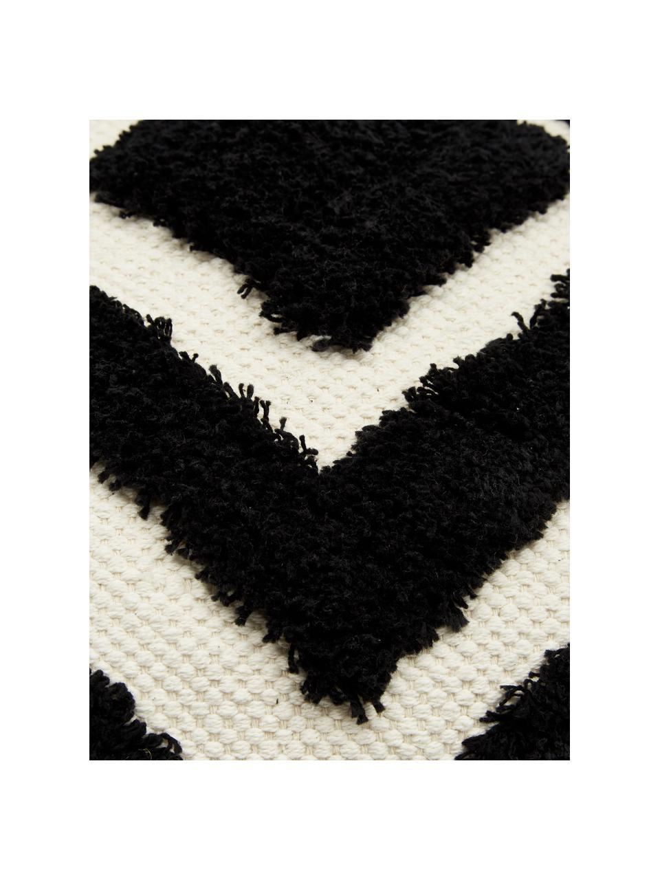 Kissenhülle Karina mit Hoch-Tief-Struktur in Schwarz/Cremeweiß, 100% Baumwolle, Weiß,Beige,Schwarz, 45 x 45 cm