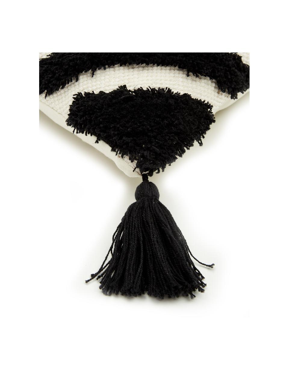 Housse de coussin 45x45 noire Karina, Blanc, beige, noir