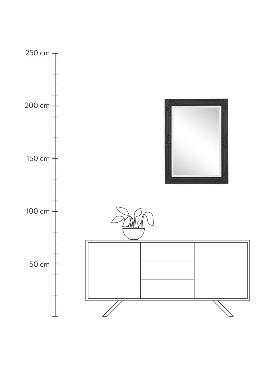 Wandspiegel Miro mit schwarzem Holzrahmen, Rahmen: Paulowniaholz, beschichte, Spiegelfläche: Spiegelglas, Schwarz, 62 x 82 cm