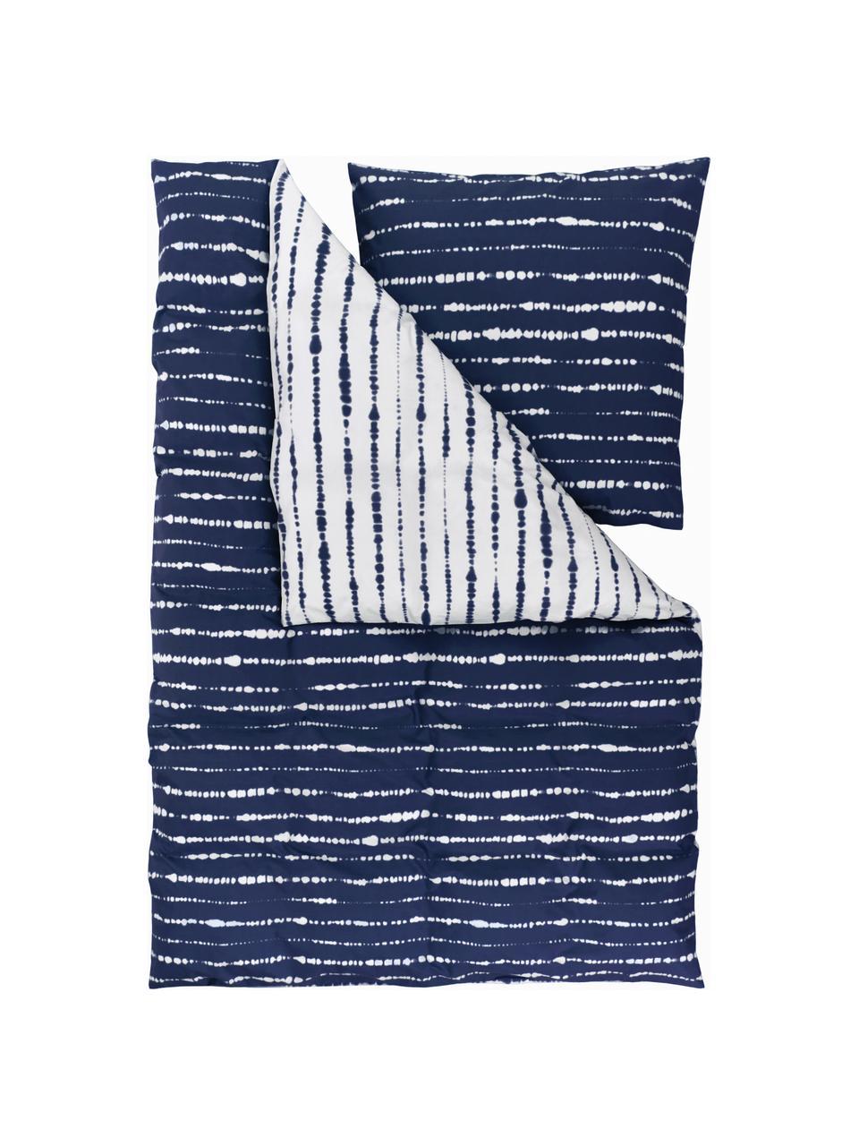 Perkal-Wendebettwäsche Remi aus Bio-Baumwolle mit Tie-Dye-Print, Webart: Perkal Fadendichte 180 TC, Blau,Weiß, 240 x 220 cm + 2 Kissen 80 x 80 cm