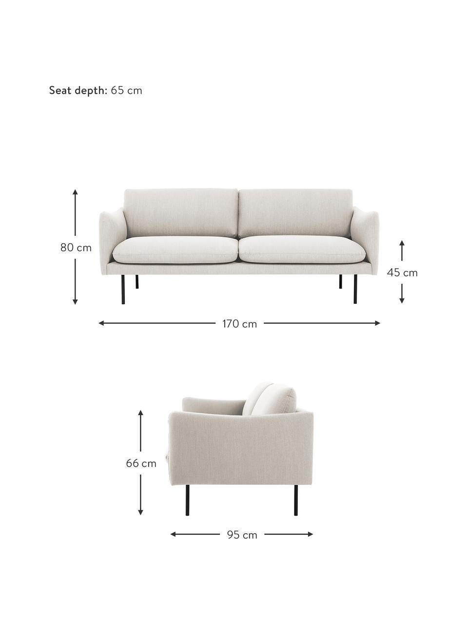 Sofa z metalowymi nogami Moby (2-osobowa), Tapicerka: poliester Dzięki tkaninie, Tapicerka: pianka na zawieszeniu spr, Nogi: metal malowany proszkowo, Beżowy, S 170 x G 95 cm