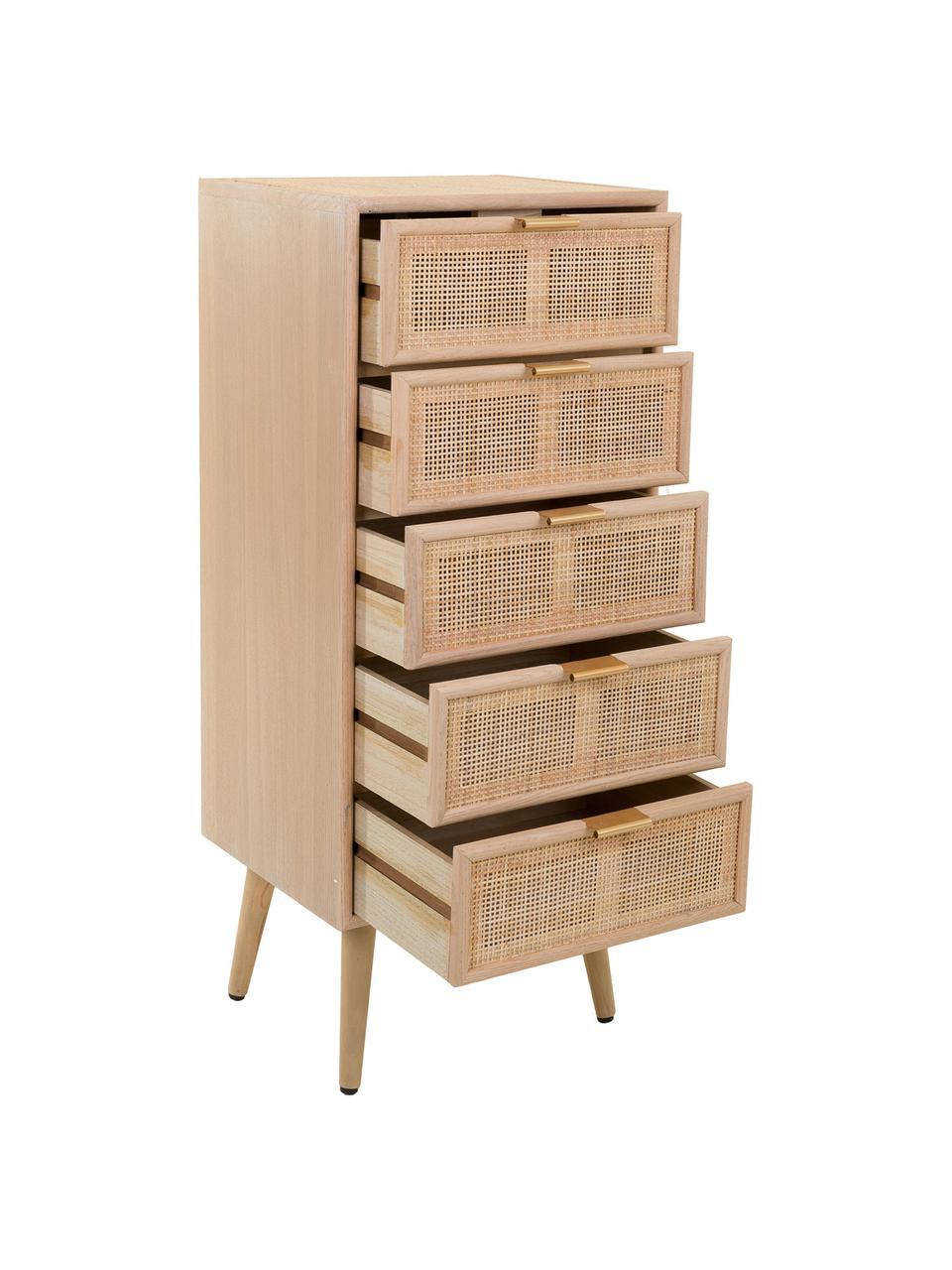 Cassettiera alta in legno Cayetana, Piedini: legno di bambù verniciato, Marrone, Larg. 42 x Alt. 101 cm