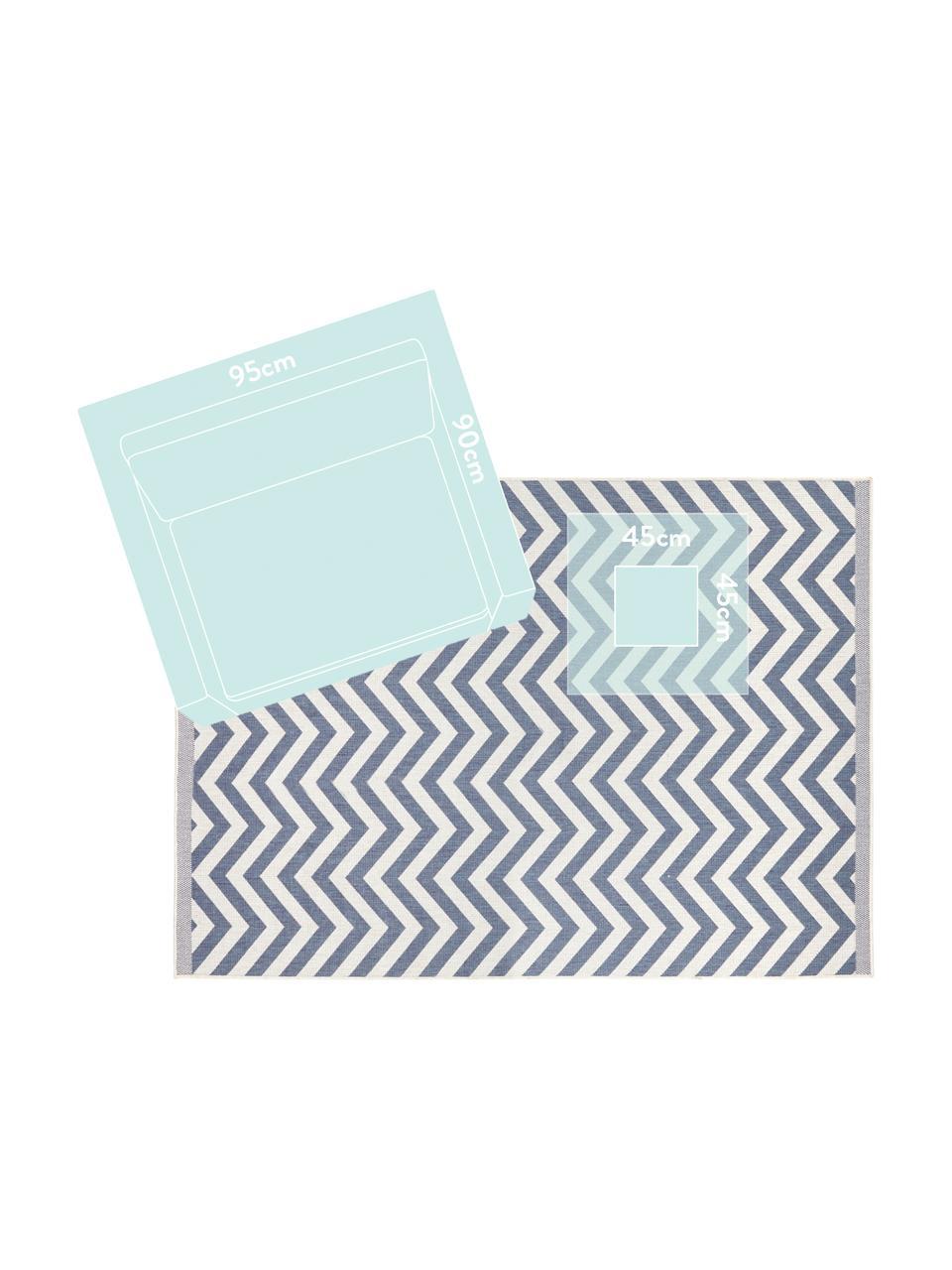 Tappeto reversibile da interno-esterno con motivo zigzag Palma, Blu, crema, Larg. 200 x Lung. 290 cm (taglia L)
