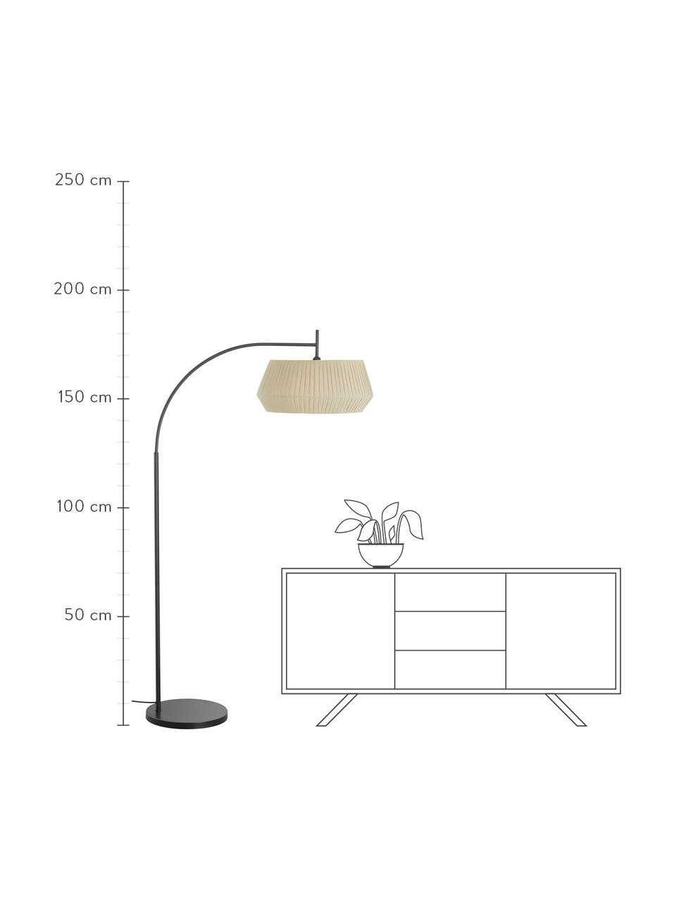 Grote booglamp Dicte van geplooide stof, Lampenkap: stof, Lampvoet: gecoat metaal, Beige, zwart, 104 x 180 cm
