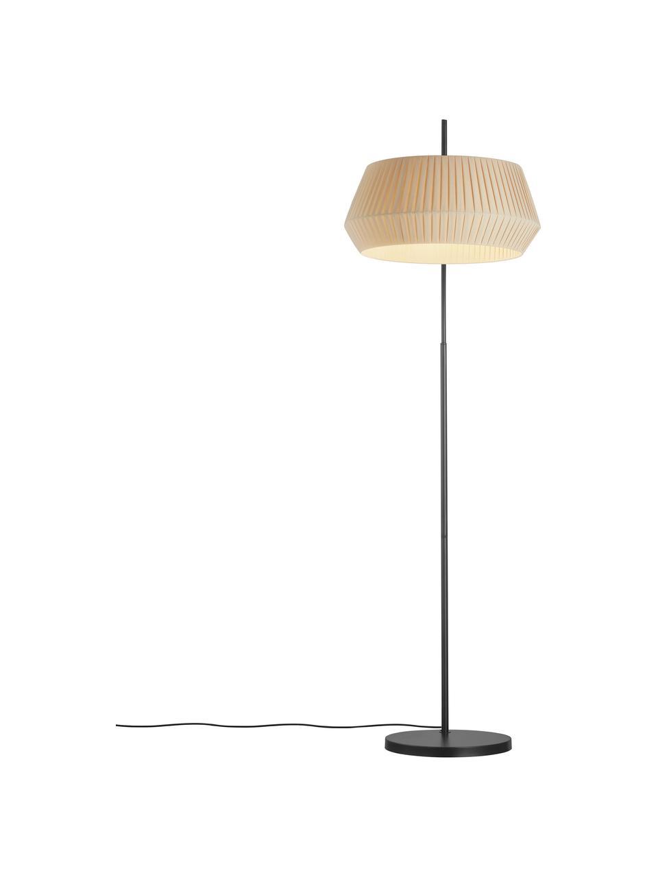Große Bogenlampe Dicte aus Faltenstoff, Lampenschirm: Stoff, Lampenfuß: Metall, beschichtet, Beige, Schwarz, 104 x 180 cm