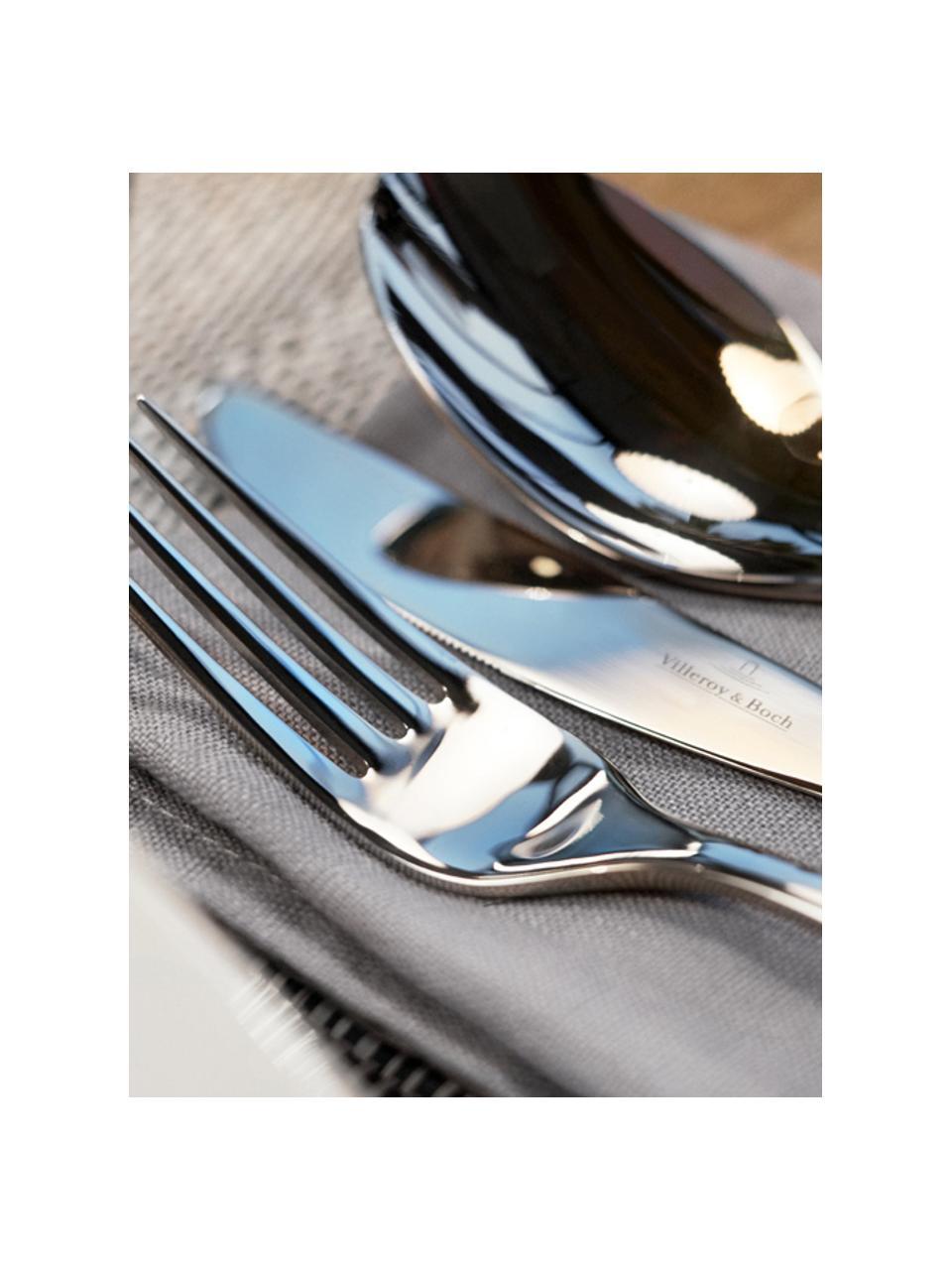 Zilverkleurige bestekset Soft Wave, 6 personen (24-delig), Edelstaal, Zilverkleurig, Set met verschillende formaten