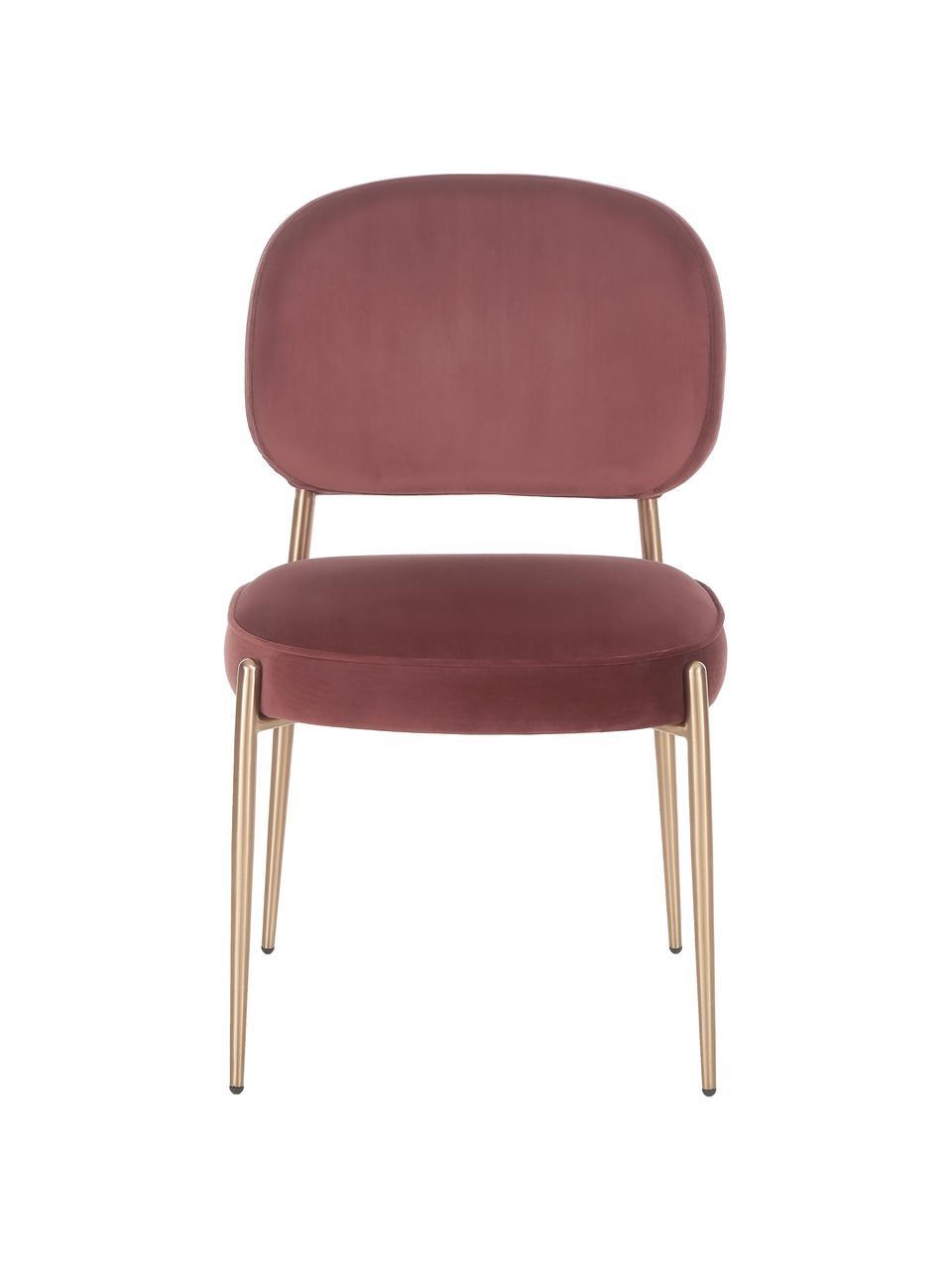 Krzesło tapicerowane z aksamitu Viggo, Tapicerka: aksamit (poliester) Dzięk, Aksamitny brązowy, S 49 x G 66 cm
