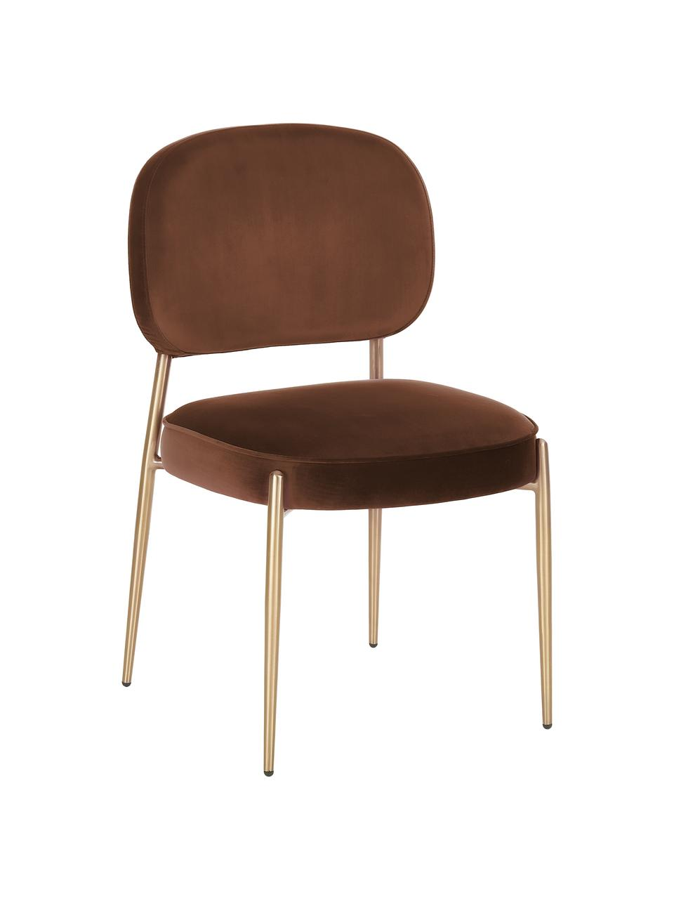Chaise velours rembourré Viggo, Velours brun