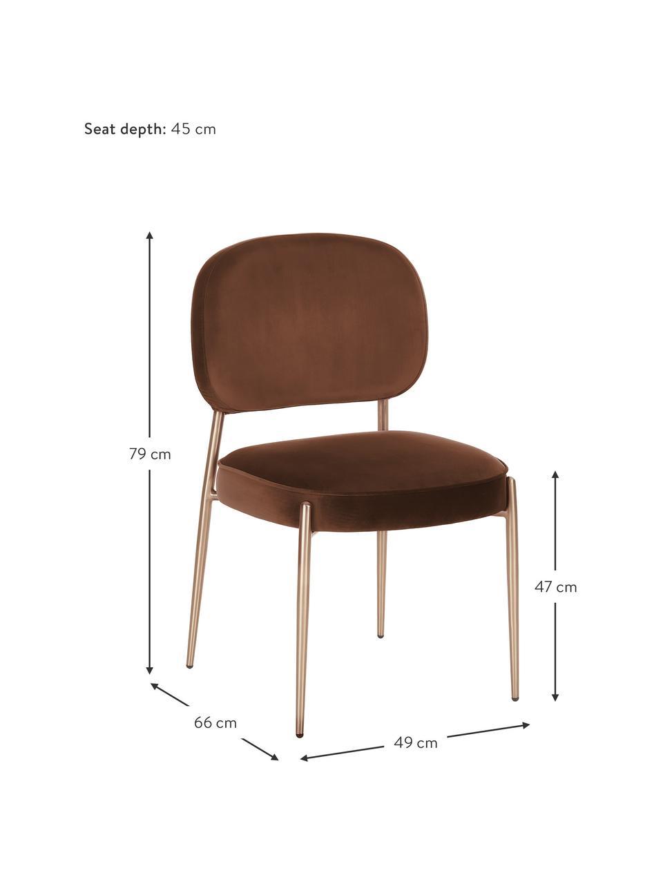 Sedia imbottita in velluto Viggo, Rivestimento: velluto (poliestere) La c, Velluto marrone, Larg. 49 x Prof. 66 cm