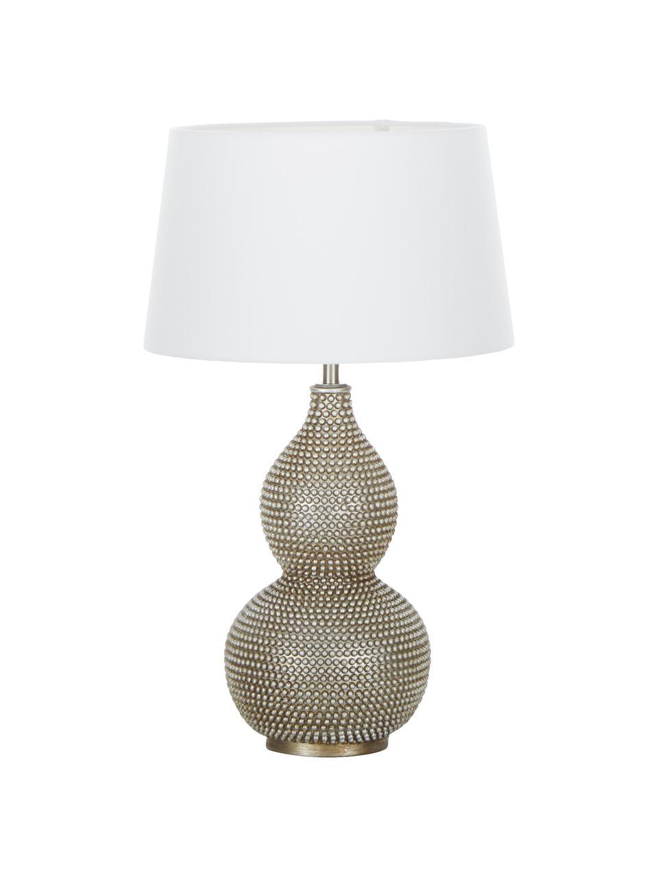 Lampada da tavolo boho Lofty, Base della lampada: Metallo rivestito, Paralume: poliestere, Bianco, Ø 33 x Alt. 58 cm