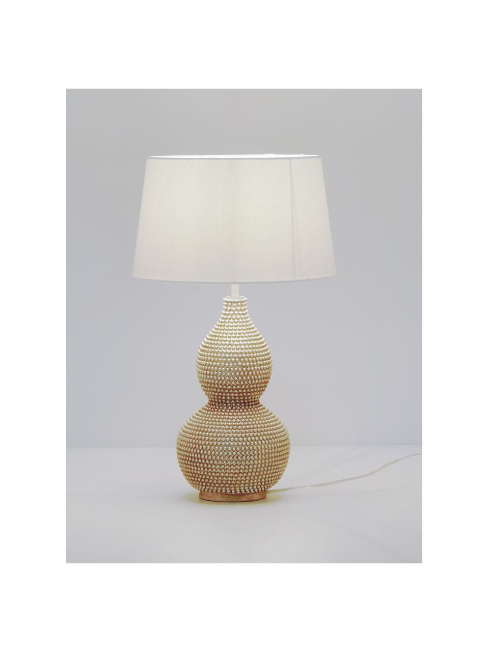 Große Boho-Tischlampe Lofty in Silber, Lampenschirm: Polyester, Lampenfuß: Metall, beschichtet, Weiß, Ø 33 x H 58 cm